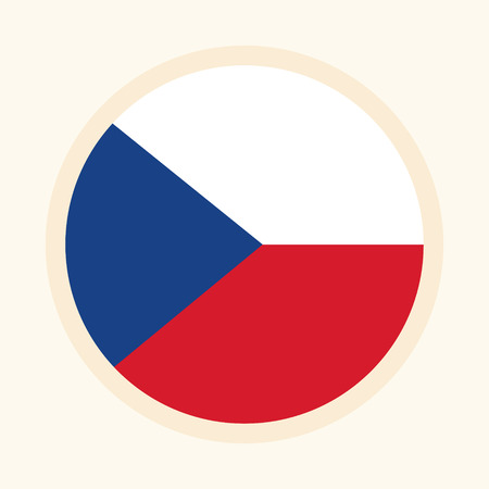 Vector illustrated flag of Czech Republic. Circular flat design graphic element. Great for national themed occasions like languages, sport events, travelling and more. Çizim