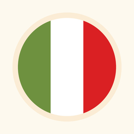 Italian illustrated flag. Circular flat design graphic element. Great for national themed occasions like languages, sport events, travelling and more. Vector graphic design. Çizim