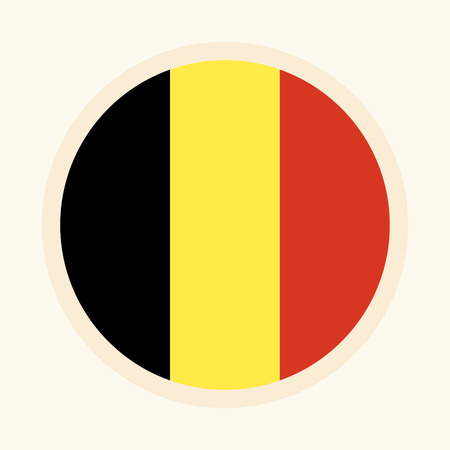 Vector illustrated flag of Belgium. Circular flat design graphic element. Great for national themed occasions like languages, sport events, travelling and more.