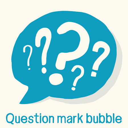 Handmade speech bubble with various question marks in it. Vector graphics.