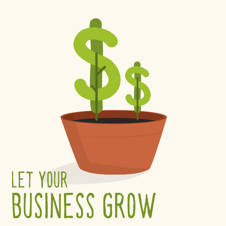 Dollar plant growing from plant pot. Self developing, investment or business illustration. Thematic vector drawing for websites, articles, magazines etc... Çizim