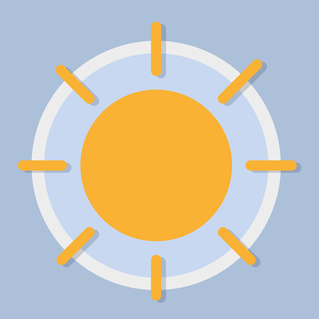 Sunny day, circular weather forecast icon in flat design style. Vector graphic element.