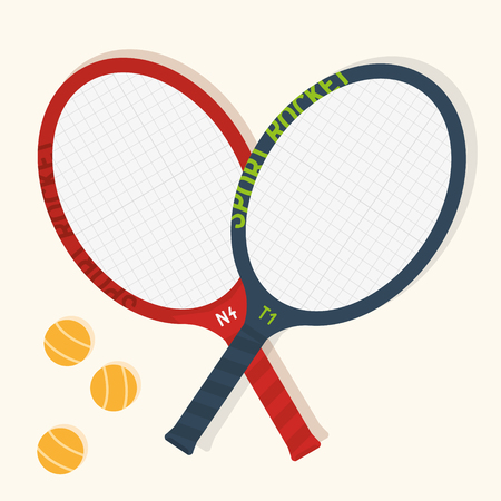 Tennis racket vector illustration. Ready to support all tennis related posters, covers or websites. Çizim