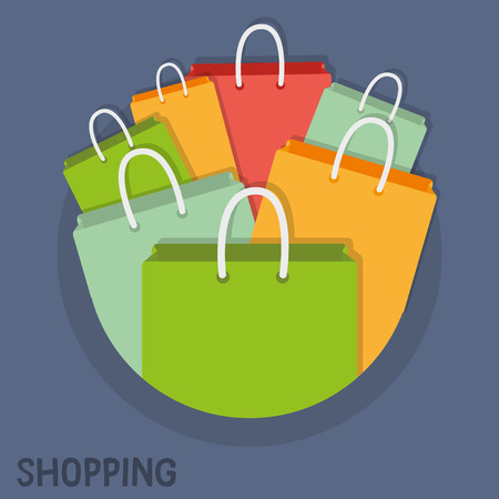 Colorful shopping bags. Illustration for marketing purposes. Great as part of sales graphics, banners or templates. Vector.