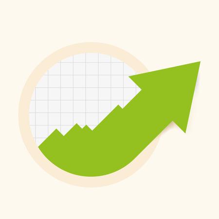 Green increase arrow in circular design graph. Vector illustration.