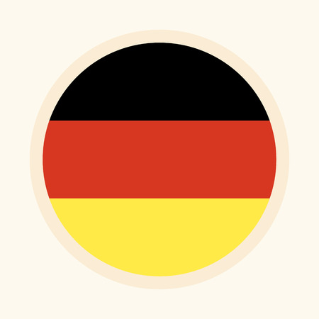 German vector illustrated flag. Circular flat design graphic element. Great for national themed occasions like languages, sport events, travelling and more.