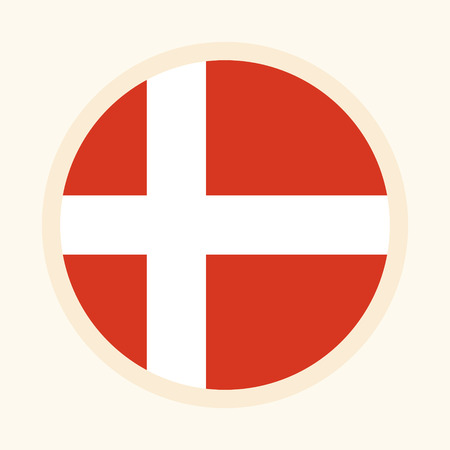 Vector illustrated flag of Denmark. Circular flat design graphic element. Great for national themed occasions like languages, sport events, travelling and more. Çizim