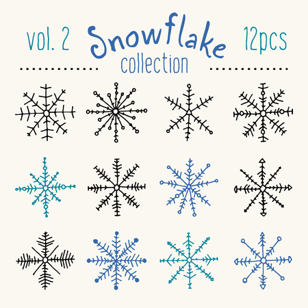 Collection of handsketched snowflakes. Abstract geometric shapes all made by hand with care of every single detail. Perfect for Christmas greeting cards.