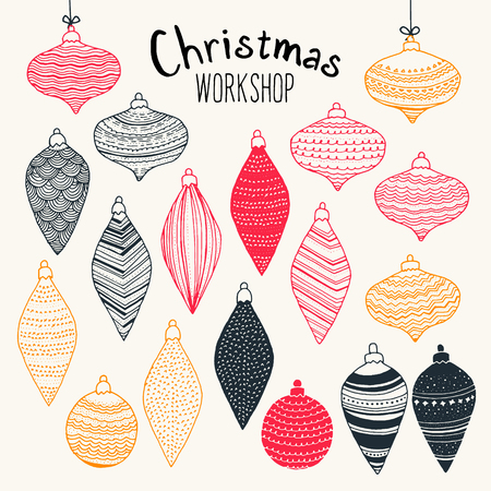 Christmas Workshop - full of precious Christmas ornaments & decorations. Every single piece has been drawn by hand with attention to every detail. Great for greeting cards. Çizim