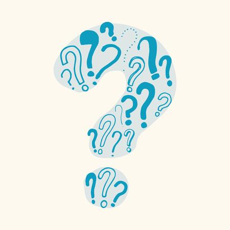 Big mosaic question mark. Handmade graphic element. For F&Q, helpdesk, questiong etc... Illusztráció