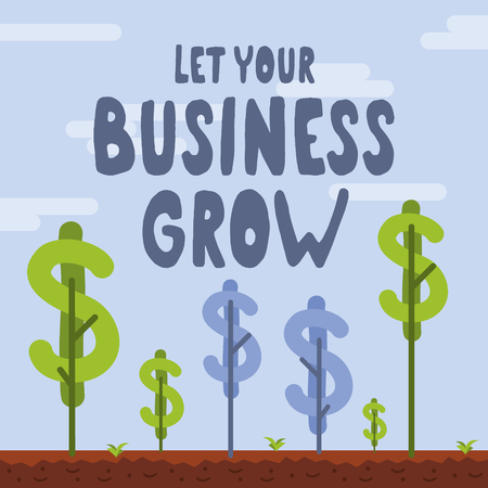 Let your business grow vector illustration. Business related conceptual vector graphics. Be patient, give it care and let it grow. Çizim