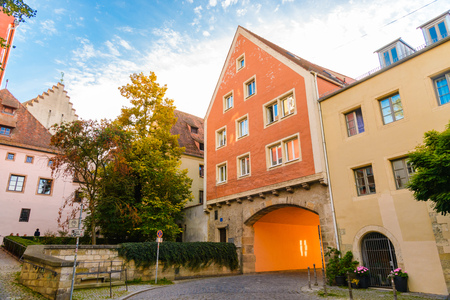 courtyard of the old German city, regensburg, germany