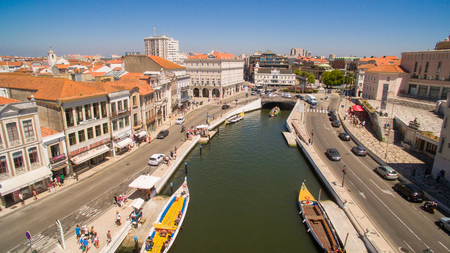 Channels of Aveiro, Portugal top view aerial view Editorial