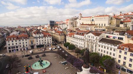 chiado: Aerial View of Dom Pedro IV Square in Rossio, Lisbon, Portugal