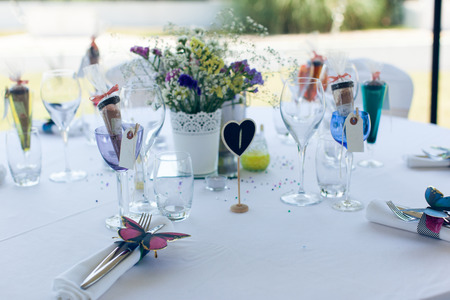 engagement party: Beautifully served and designed white wedding table