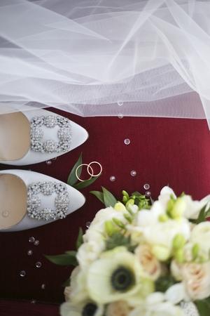 veils: Wedding arrangement, rings, shoes, veils and bridal bouquet