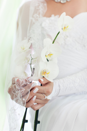 arm bouquet: Orchid flower in front of the bride in a white dress close-up