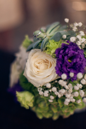 Beautiful wedding bouquet and rings