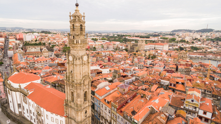 Porto cityscape with famous bell tower of Clerigos Church, Portugal aerial view