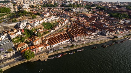 Aerial view of boats carrying wine in Porto Portugal, 17 july 2017. Reklamní fotografie