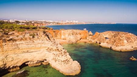 Aerial view of the scenic Ponta Joao de Arens beach in Portimao, Algarve, Portugal Stock Photo