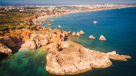 Aerial view of the scenic Ponta Joao de Arens beach in Portimao, Algarve, Portugal Stock Photo