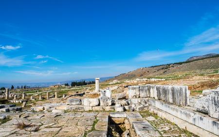 Ruins in ancient Greek city Hierapolis, Pamukkale, Turkey