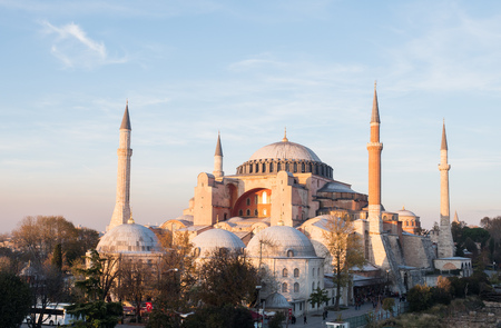 Exterior of the Hagia Sophia in Sultanahmet, Istanbul, on a sunny day. Stock Photo