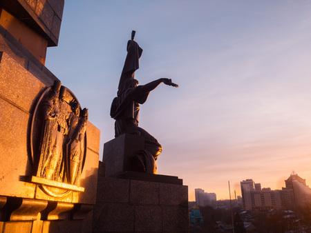 Friendship monument in Ufa at beautiful winter sunrise. Russia