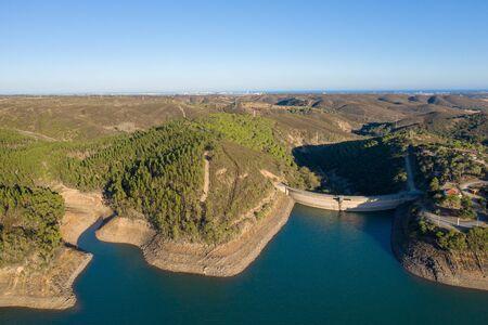Barragem da bravura, Bravura dam, Alragve, Portugal. Aerial drone wide view