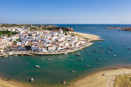 Ferragudo, Algarve, Portugal. Aerial wide drone view
