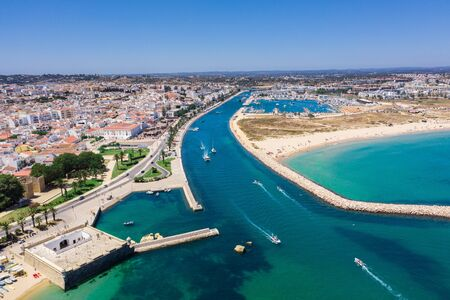 Panorama of Lagos marina, Algarve, Portugal, aerial drone wide view