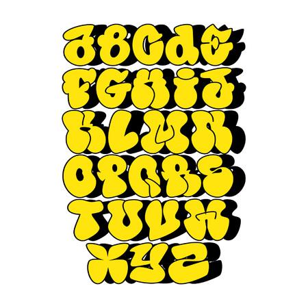黄色のバブルアルファベット、abc、フォント  イラスト・ベクター素材