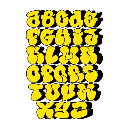 A yellow bubble alphabet, abc, font Vectores