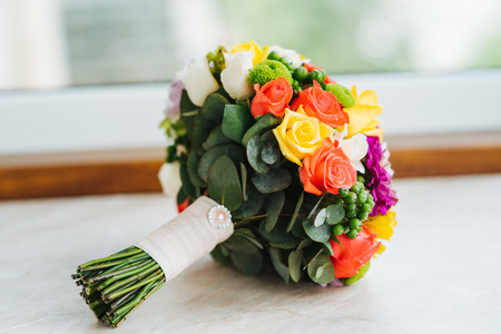 Wedding flowers, bridal bouquet closeup. Decoration made of decorative flowers, close-up, selective focus, nobody, objects