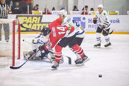 Druzkovka, Ukraine - January 11, 2020: Match Ukraine hockey league Donbass vs Dinamo Kharkiv