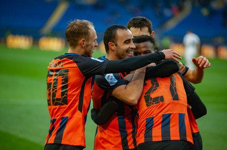 Kharkiv, Ukraine - April 13, 2019: Larry Olarenwaju Ayobami Kayode, forward of Shakhtar during the match vs Zorya Luhansk