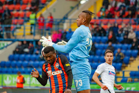 Kharkiv, Ukraine - April 13, 2019: Larry Olarenwaju Ayobami Kayode, forward of Shakhtar during the match vs Zorya Luhansk