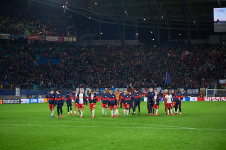 LEIPZIG, GERMANY - MARCH 10, 2020: Players of Red Bull Leipzig after match vs Tottenham Editöryel