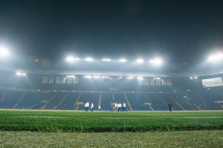 Kharkiv, Ukraine - October 18, 2018: Stadium lights at stadium before soccer match Ukraine - Czech Republic on Metalist stadium.