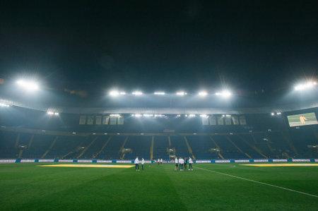 Kharkiv, Ukraine - October 18, 2018: Stadium lights at stadium before soccer match Ukraine - Czech Republic on Metalist stadium. Sajtókép