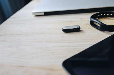 Digital time. Busines devises. Laptops, tablets, fitnes tracker and mobile phones