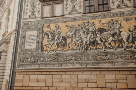 Dresden, Germany - March 13, 2020: The Fürstenzug (Procession of Princes) made from porcelain tiles