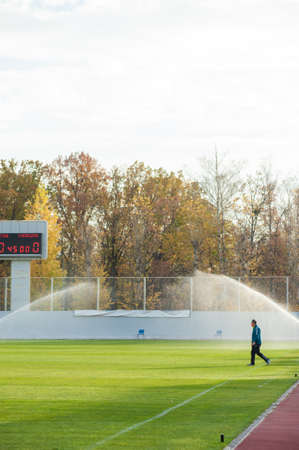 KHARKIV, UKRAINE - OCTOBER 9, 2020: Stadium Solnechnii Sunny during the football match of Professional league FC Energia vs FC Metal