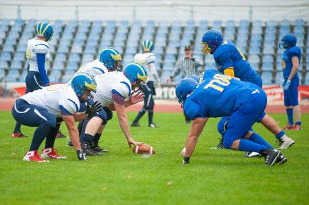 KHARKOV, UKRAINE - OCTOBER 24, 2020: The American football match final of Ukraine Cup Atlantes Kharkiv vs Kyiv Capitals