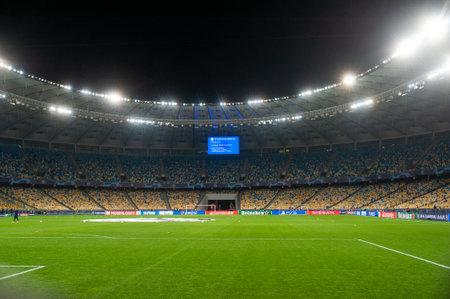 KYIV, UKRAINE - OCTOBER 27, 2020: NSK Olimpiyskiy football match of Group B of UEFA Champions League FC Shakhtar vs Internazionale Editorial