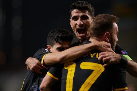 KYIV, UKRAINE - NOVEMBER 4, 2020: AEK celebrate score goal. UEFA Europa League football match between FC ZORYA LUHANSK and FC AEK ATHENS