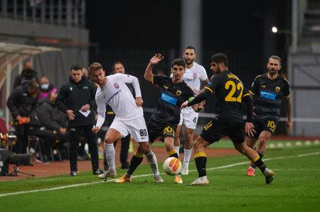 KYIV, UKRAINE - NOVEMBER 4, 2020: UEFA Europa League football match between FC ZORYA LUHANSK and FC AEK ATHENS
