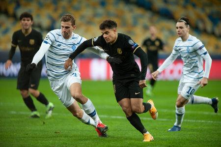 KYIV, UKRAINE - NOVEMBER 24, 2020: Philippe Coutinho during the football match of Group G of UEFA Champions League FC Dynamo Kyiv vs FC Barcelona