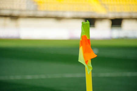 Corner kick of football field with flag